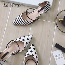 La MaxPa Summer Polka Dot Women Sandals Pointed Toe Women Stripe 6cm Thin Heel Ladies Slippers Comfortable Slip On Shoes Pumps