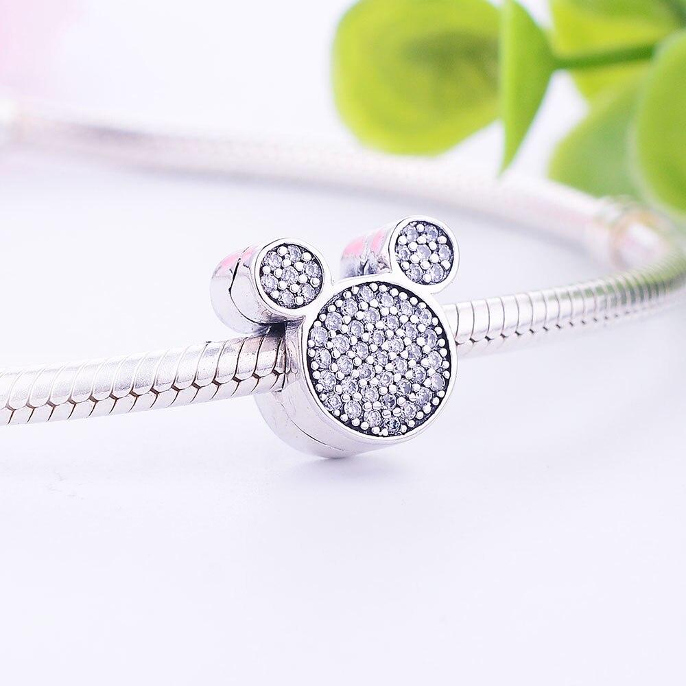 925 Sterling Silver Fit Orignal Pandora Cazibədar Bilərzik Cizgi - Moda zərgərlik - Fotoqrafiya 5