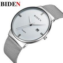 Hommes de montres simple robe montre hommes en acier maille bracelet à quartz-montre Ultra-mince ultra horloge De Luxe BIDEN marque relogio masculino