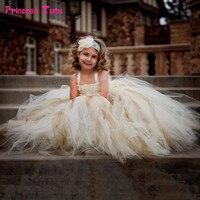 Gorgeous Flower Girl Tutu Dress Children Vintage Wedding Ball Gown Kids Girl Flower Dress Tulle Birthday Party Baby Girl Clothes