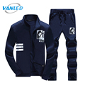 2017 Plus Size Spring Zipper Sweatshirts Men's Sporting Suits 2017 Sudaderas Hombre Hoodie Fleece+Sweatpants Sweat Suit 4XL