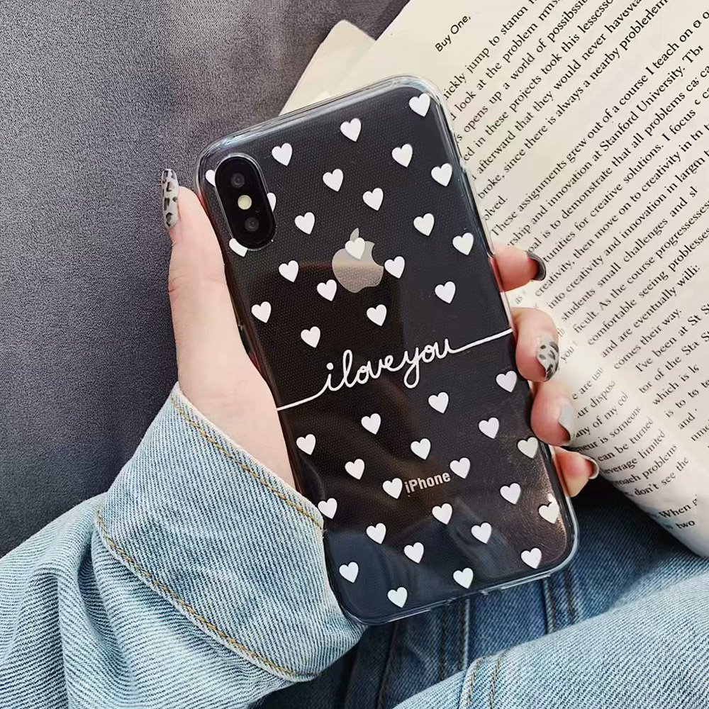 KIPX1078W_1_JONSNOW Clear Case For iPhone 6 6S 7 8 Plus XS XR XS Max Black White Heart Pattern Soft Silicone Protect Back Cover Capa Fundas