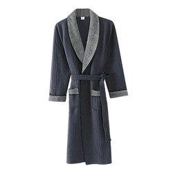Winter Thin Three-ply Cotton Padded Robe Bathrobe V-neck Keep Warm Autumn Dressing Gown Long Robe Plus Size M,L,XL,XXL,3XL