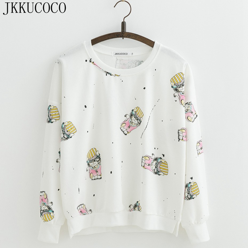 JKKUCOCO Funny Cartoon pink Lion Print Women Cotton Hoodies Batwing Sleeve Loose Sweatshirts Women Thin Casual