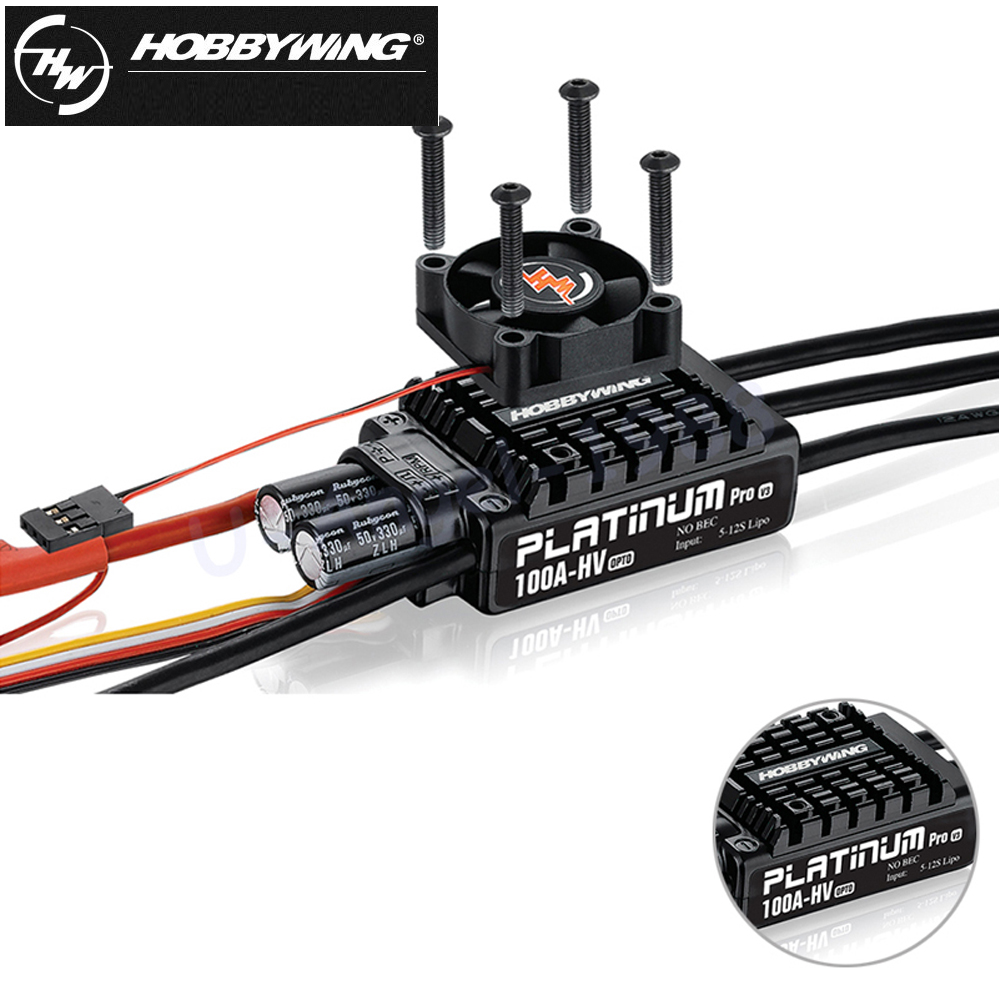 1pcs Hobbywing Platinum OPTO HV V3 100A 5-12S Lipo No BEC Speed Controller Brushless ESC for RC Drone Helicopter 1pcs original hobbywing platinum 100a v3 rc model brushless esc for multicopter for align trex 550 600 700 rc helicopter fixed w