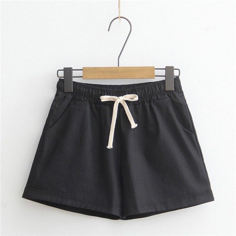Short Feminino New Pantalones Cortos Mujer Women's Shorts Candy Color Casual Loose Cotton & Linen Straight Shorts