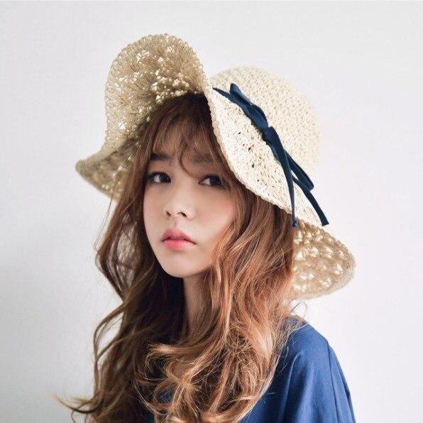 Летом большой краев соломы пляж шляпа женщин складная вс шляпах с отверстиями бесплатная доставка SCCDS-027