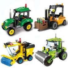 Pirate Treasure Hunt Submarine Blocks City Forklift Truck Engineering Car Building Toys For Children