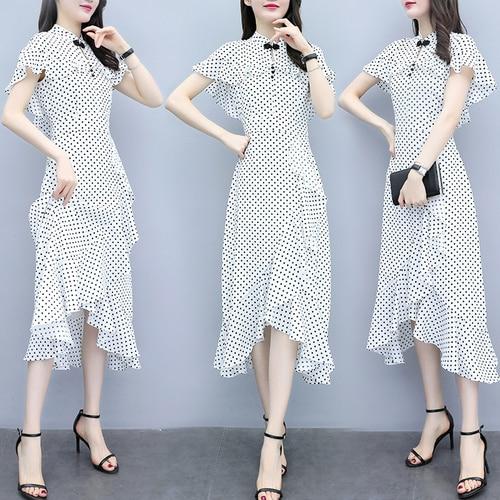Style chinois blanc Dot longue robe femmes en mousseline de soie Cheongsam manteau manches mode Vintage robes élégant sirène femme tissu