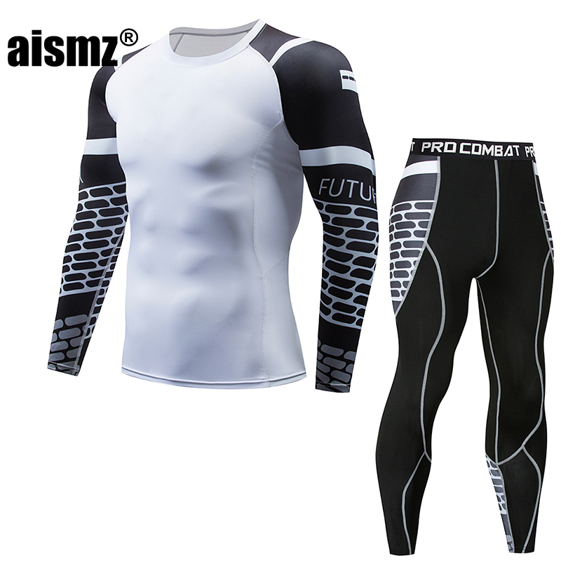 Aismz Tracksuit Men Long sleeves fitness t-shirt + Pants man compression set mens tights union suit Moletom Masculino Sets
