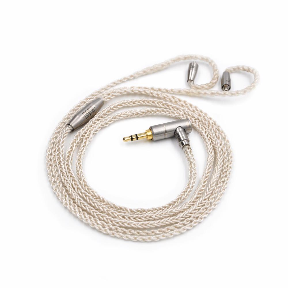 Prix pour Facile 8 Core Écouteurs Mise À Niveau Argent Plaqué Câble pour Shure SE215 SE535 SE846 UE900 Casque MMCX Câble Audio Amélioré lignes