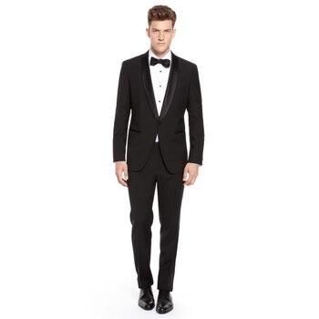 Custom Made Mens Suits Groomsmen Shawl Satin Lapel Groom Tuxedos Black Wedding Best Man Suits Groom Wear (Jacket+Pants)