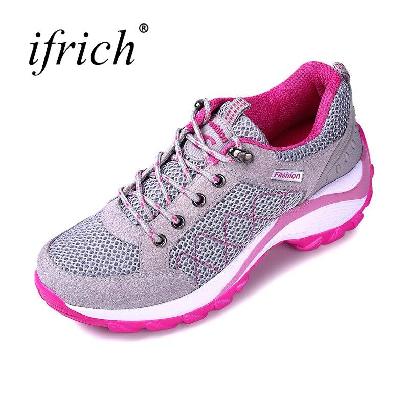 Ifrich primavera verão novo esporte tênis vermelho/preto mulher correndo 2019 sapatos de malha respirável atlético sapatos de treinamento