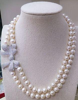Classique double strands9-10mm mer du sud blanc collier de perles rondes 18 19> vente bijoux livraison gratuiteClassique double strands9-10mm mer du sud blanc collier de perles rondes 18 19> vente bijoux livraison gratuite