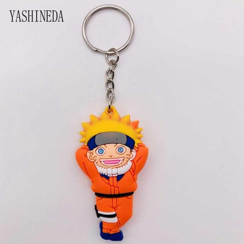 1 pcs Figura Dos Desenhos Animados Comics Naruto Chaveiro PVC 3D Dupla Face Anel Chave Anime Chaveiros Crianças Brinquedo Chave Titular Trinket presente do partido