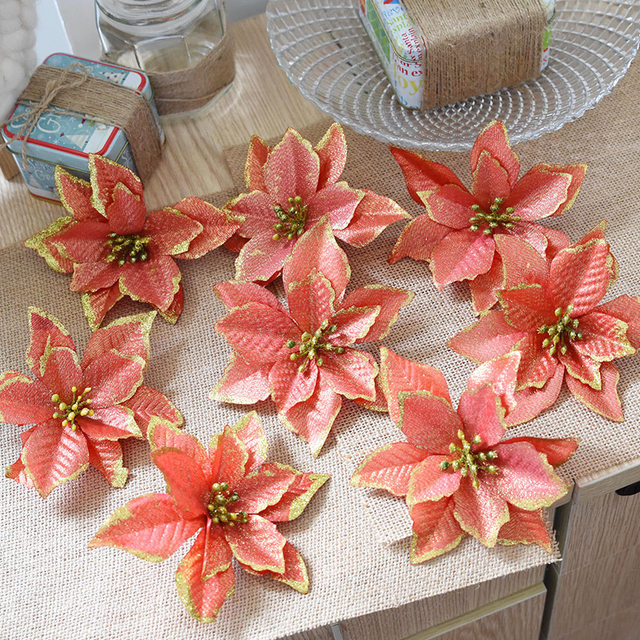 8PCS Artificial Flowers Christmas Decorations for Home Three Layers Gold Pink Xmas Tree Toppers Flowers Ornaments Navidad Decor 17