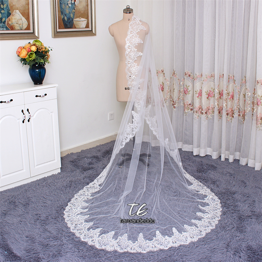 3M Lace Appliques Edge Cathedral Length Sequin Bridal Veil Long Wedding Veil Chic Shiny Bridal Veil Wedding Accessories