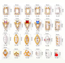 100pcs/Lot 3D Nail Charm Rivets Gold/Sliver Metal Alloy Rhinestones Diamond DIY Art Decorations For Manicure Accessories
