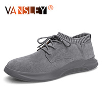 Autumn Men's Casual Shoes Breathable Suede Leather Men Sneakers Hip hop Man Casual Shoes Lace up Air shoes Flats Moccasins shoes