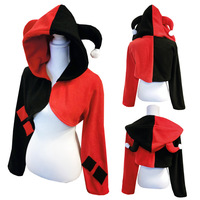 Suicide Squad Harley Quinn Girls Women Cosplay Costumes Cloak Cap Top Harley Quinn Cosplay Cloak Hoodie Fleece Hooded Cap