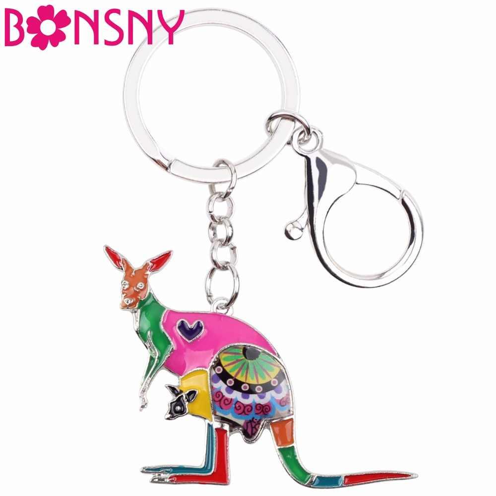 Bonsny エナメル花オーストラリアカンガルーキーチェーンキーホルダーリングファッションアニマルジュエリー女性ガールズギフトバッグ車チャーム新