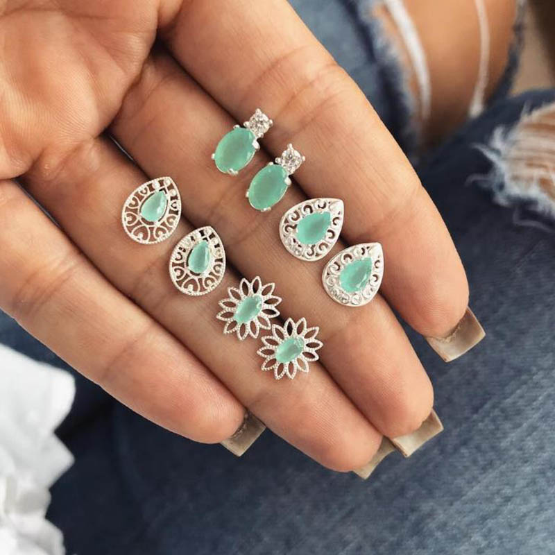 Jewelry & Accessories 4 Pairs/set Green Crystal Flower Stud Earrings For Women Wedding Boucle Doreille Jewelry Dazzling Cubic Zirconia Opal Brincos