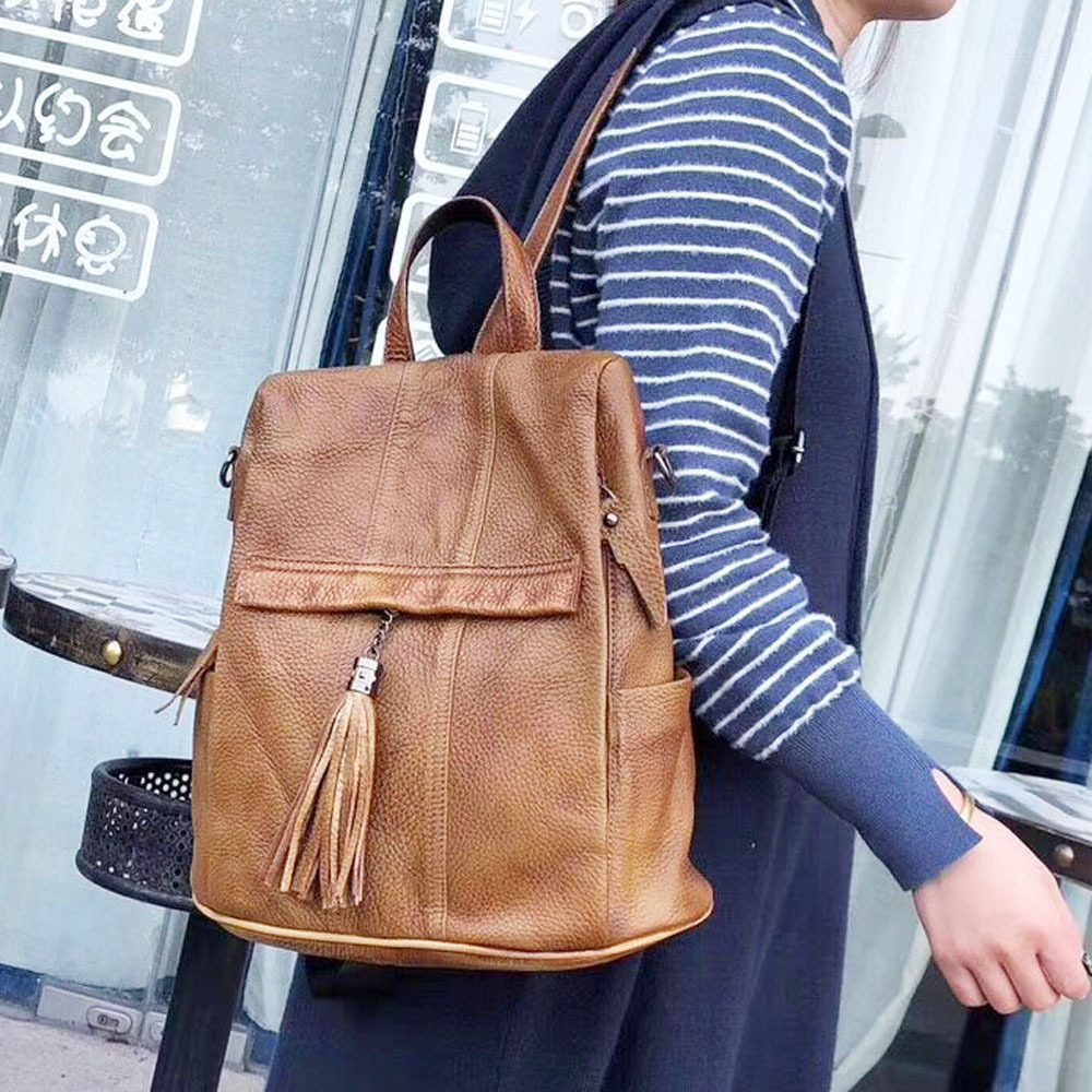 AETOO New leather female backpack handmade rub color tassel stitching backpack large female bag-in Backpacks from Luggage & Bags    1