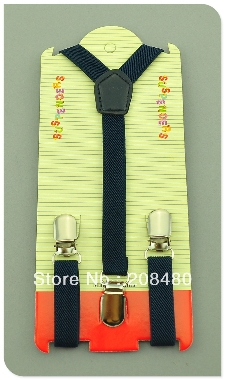 Free Shipping-1.5x65cm Navy Kids Suspenders Children/Boys/Girls Suspender Elastic Braces Slim Suspenders-Wholesale & Retail