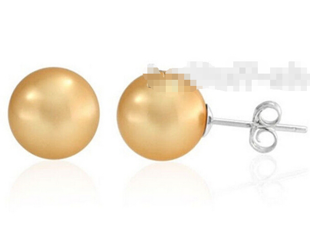 Free shipping 10MM SOUTH SEASHELL 925 STERLING SILVER SHELL PEARL STUD EARRING