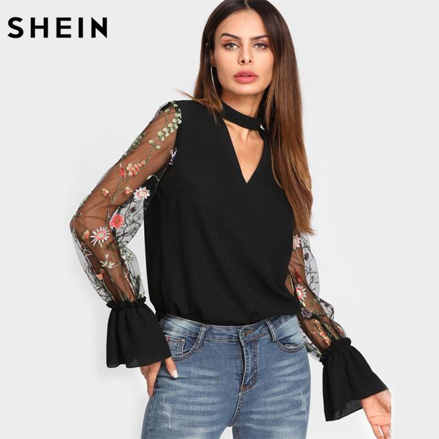 02932e5f73b89a SHEIN V Neck Floral Blouse Women Tops Embroidered Mesh Sleeve Choker Neck  Blouse Black Long Sleeve Elegant Blouse