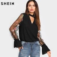SHEIN V Neck Floral Blouse Women Tops Embroidered Mesh Sleeve Choker Neck Blouse Black Long Sleeve