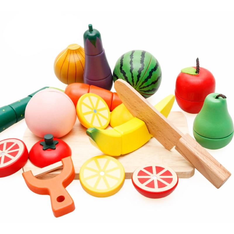 Bébé Puzzle en bois cuisine jouets coupe fruits légumes jeu de coupe jouets enfants enfants classique semblant jouer jouets pour enfants cadeaux