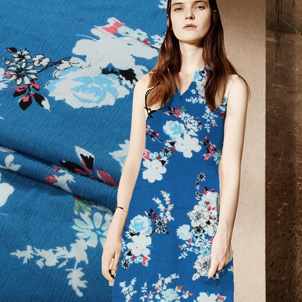 2018 flor azul caliente Digital Print 100% algodón de primavera y - Artes, artesanía y costura