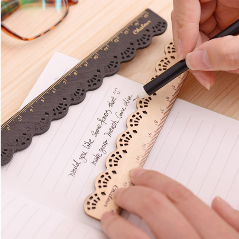 15cm Cute Lace Wood Straight Ruler Vintage Forest Series Student Ruler Stationery Zakka Office School Drafting Supplies Righello