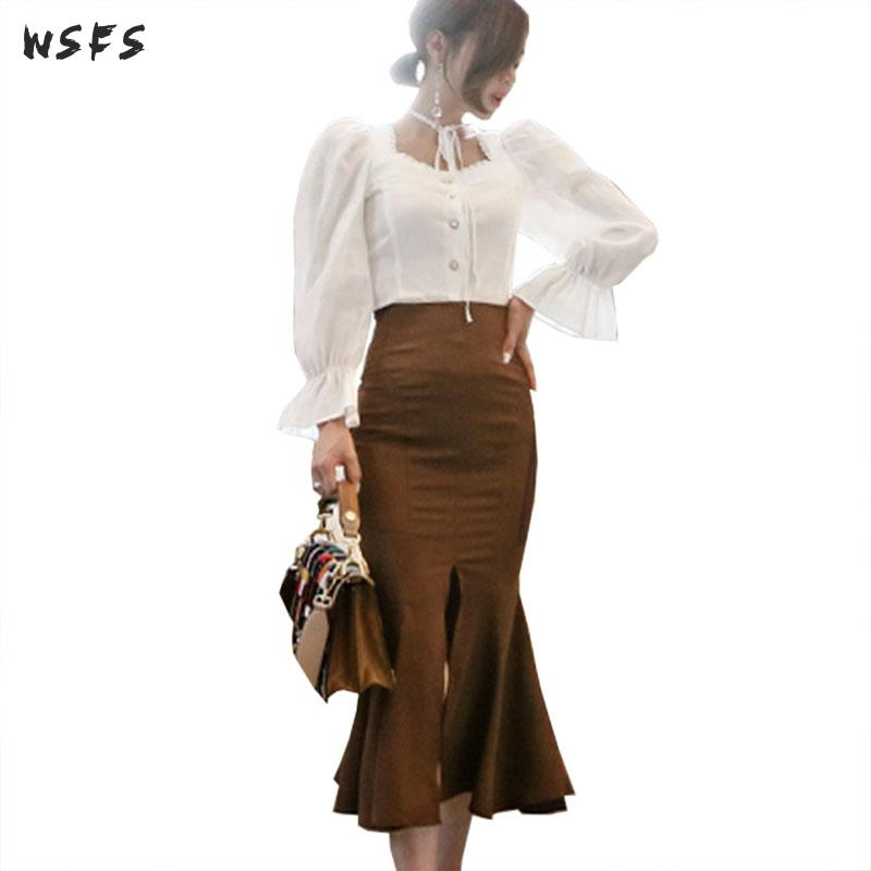 2 Piece Set Autumn White Long Flare Sleeve Shirt Top Women Dress Khaki Mermaid Midi Skirt Elegant Sexy Party Office Lady Dress