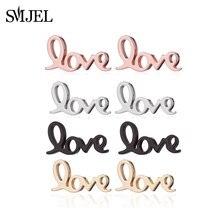 Minúscula Letra SMJEL Geométrica Brincos de Aço Inoxidável Do Amor Do Coração Brincos para As Mulheres Jóias Presente Namorada pendientes