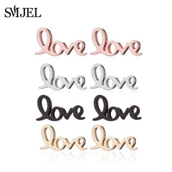 SMJEL Tiny Letter Stainless Steel Earrings Geometric Love Heart Stud Earrings for Women Jewelry Girlfriend Gift pendientes