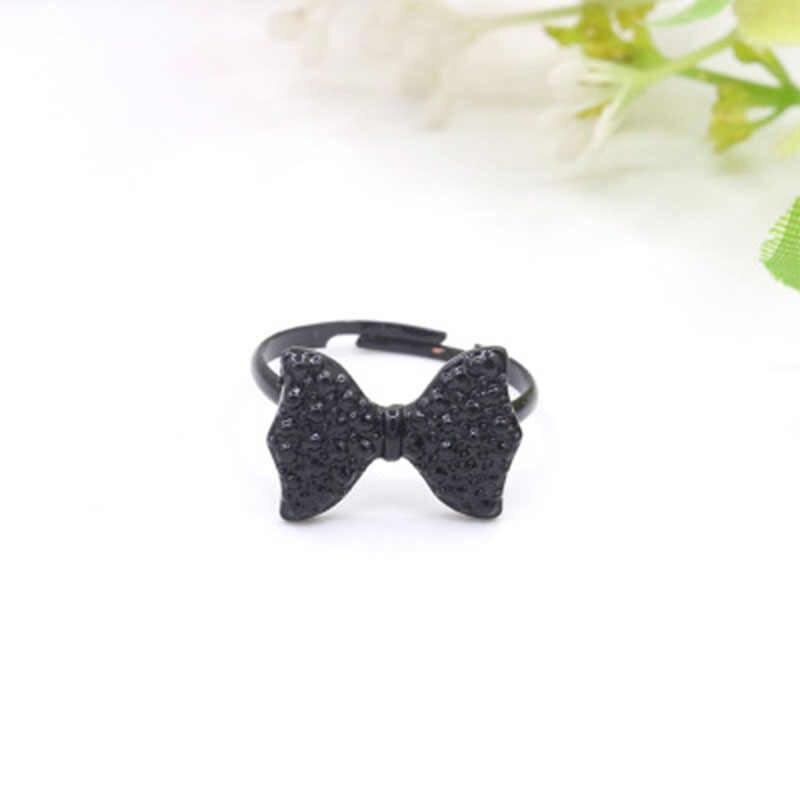 Mode mignon papillon noir cristal arc anneaux pour les femmes réglable anneau de doigt déclaration Bijoux fête cadeau Anel Bijoux WD350