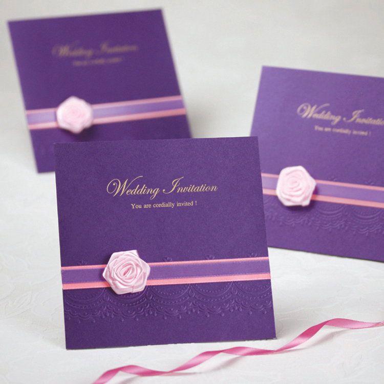 2016 Romantic Purple Wedding Party Invitation Card Delicate Carved ...