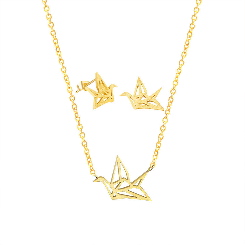 Brinco 2018 Stainless Steel Bridal Jewelry Sets Gold Silver Color Origami Crane Necklace Earrings For Women BFF Wedding Gift