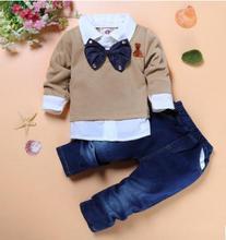 Kids Clothes Set 2019 Spring Baby Boy Handsome Gentleman Bow Tie Fake 2 Piece Long Sleeve Shirt+ Denim Pants FZ9002