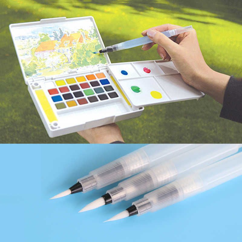 1 PC 15cm Water Brush Pen Ink Water Color Calligraphy For Beginner Painting Office Gift Material Escolar
