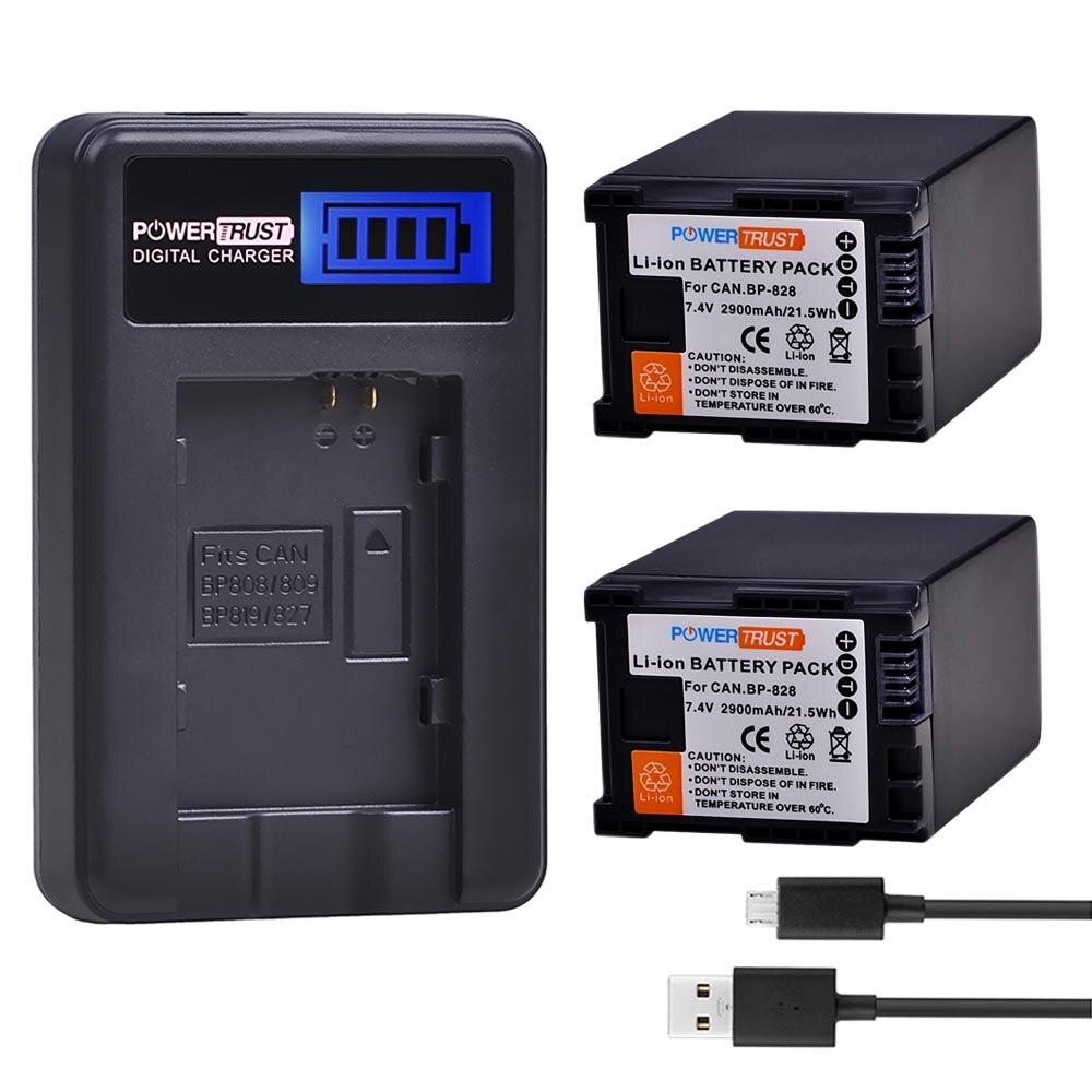 2 Pcs 2900 mAh BP-828 BP 828 BP828 Batteria + USB LCD Caricabatterie per Canon LEGRIA GX10 HFS30 HF20 HG20 g30 G40 XA20 XA25 HFM300