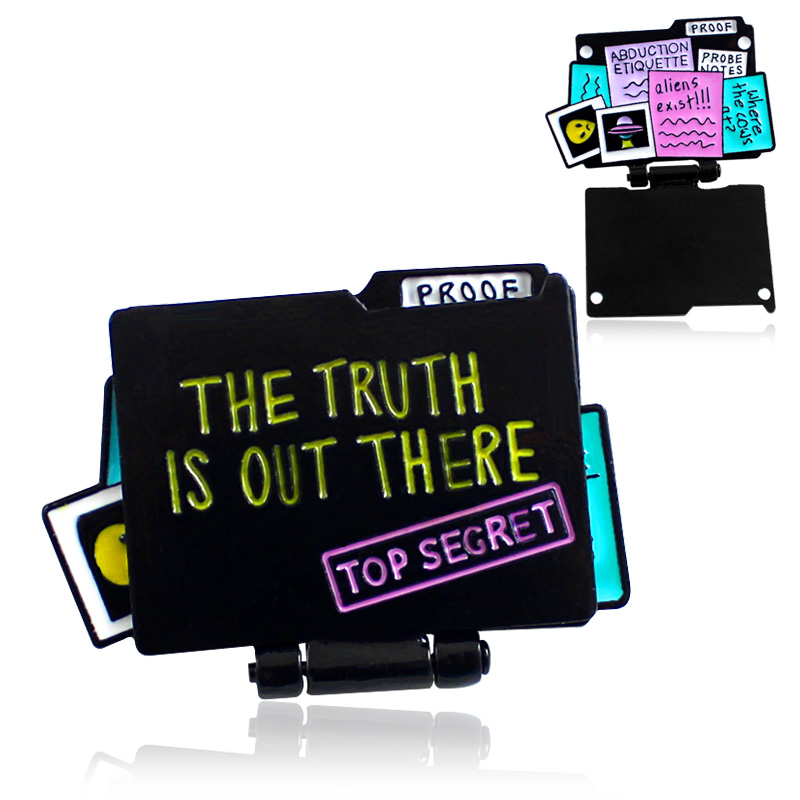 Trendy Picture Collection Brooch Proof The Truth Is Our There Top Segret Document Cute Cool Stylish Pins Gift For Friend Black