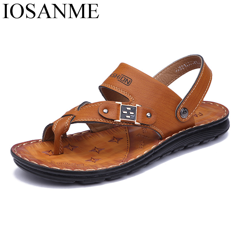 38c03bb821a1 Mens Sandals 2018 Summer Outdoor Beach Slide Sandals Leather Shoes Luxury  Fashion Breathable Casual Male Footwear For Men