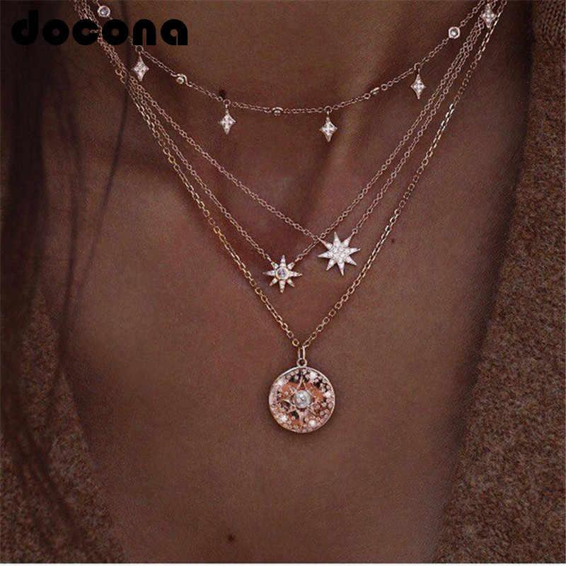 Docona Bohemian Vàng Ngôi Sao Pha Lê Mặt Trời Choker Dây Chuyền Nữ Cô Gái Kim Loại Lớp Cổ Boho Trang Sức Collares 6653