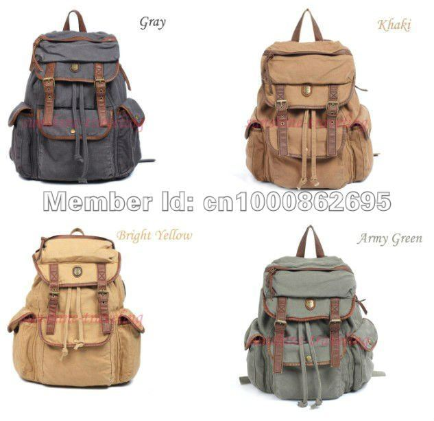 Hot sale Vintage Men's Womens Casual Canvas Leather Hiking Backpack Unisex Rucksack shoulder Bookbags travel Bags 6 color