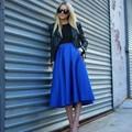 Inglaterra Estilo 2016 Oscuro Royal Blue Faldas Media Pantorrilla Tafetán Estilo Faldas Para Mujer Otoño O Primavera Color Sólido Falda