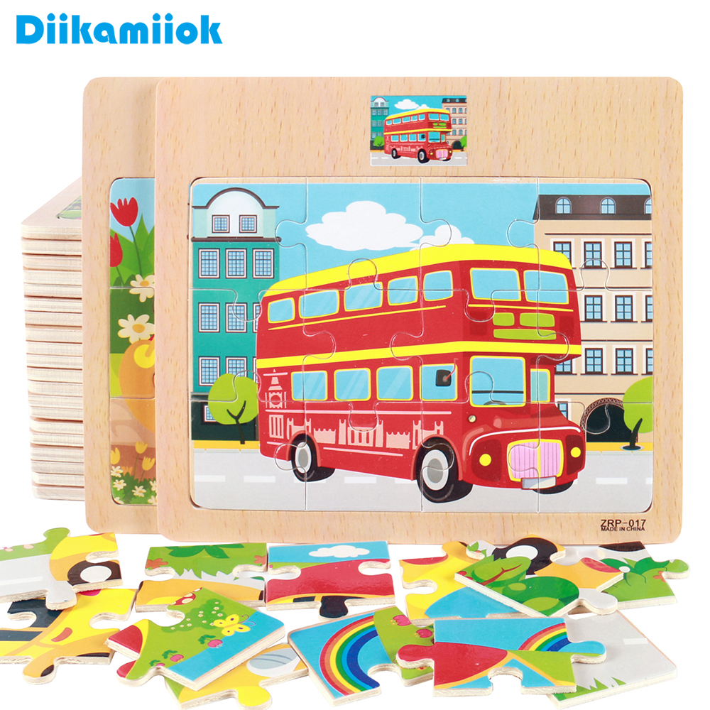 12 Slice Kids New Cartoon Animals/ Vehicle Wooden Puzzle Baby Montessori Toy Educational Learning Toys For Children SL-V010