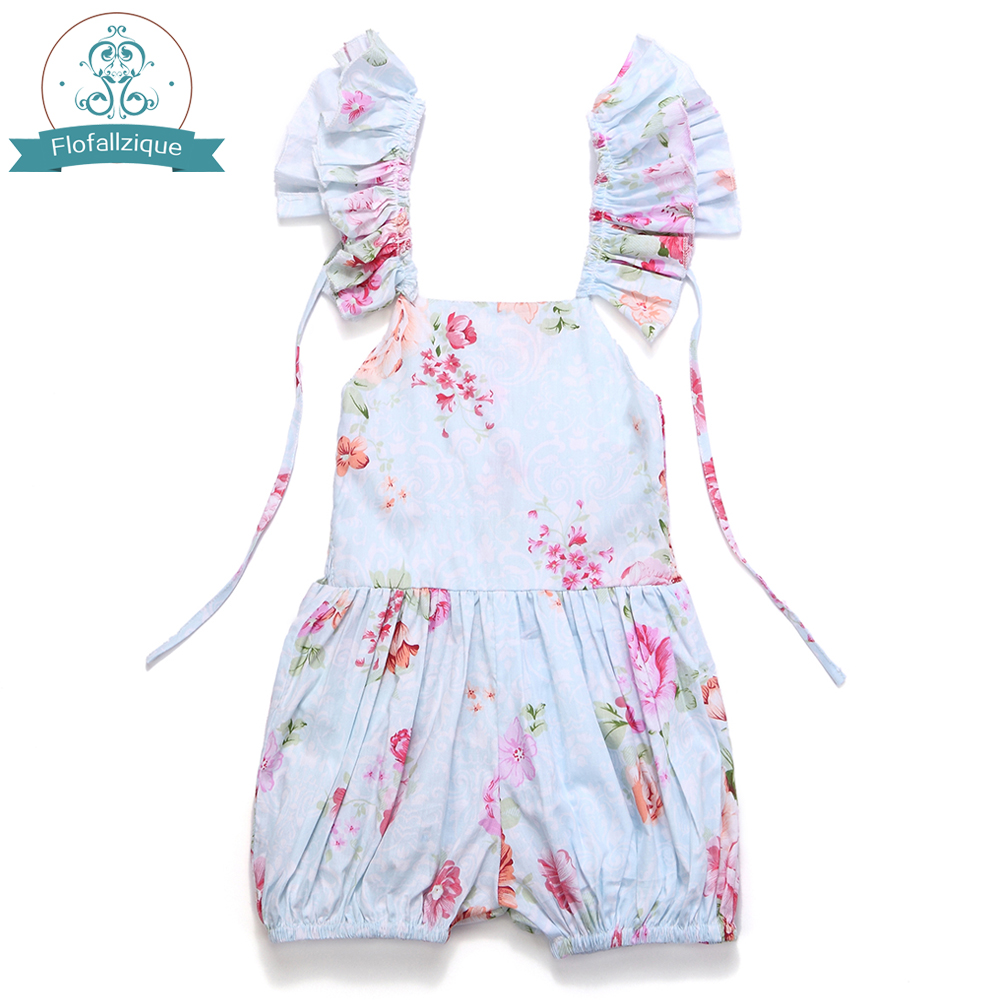 2018 Fashion Ruffles Vintage Floral Print Baby Girl Jumpsuit Casual Toddler Girls Overalls Romper Children Clothing 1-8Yrs girls eyes print romper